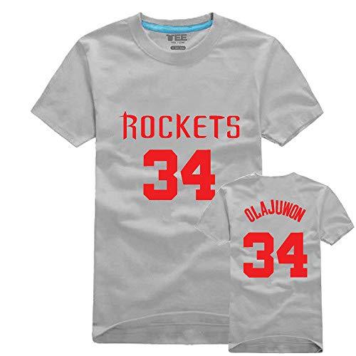 MHDE Summer Rocket # 34 Olajuwon Jersey - Camiseta de manga corta para hombre y mujer, Hombre, color Gray(female), tamaño M