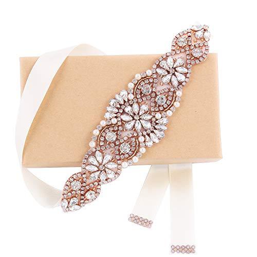 Weztez Crystal Wedding Belts And Sashes Thin Rhinestone Bridal Belt For Wedding Gown Rose Gold Plus Size(Rose Gold-Ivory)