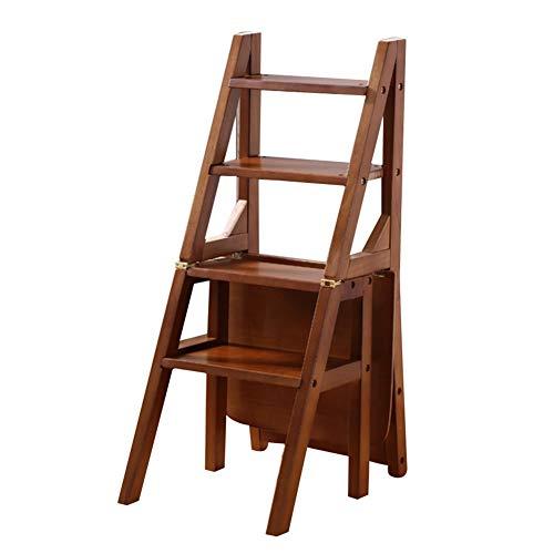 ZENFAI Tabouret D'échelle Ménage Chaise D'escalier Pliante Échelle En Bois Sûr Durable Salle D'étude Chambre, 3 Couleurs (Couleur : A, taille : 38x47x90cm)