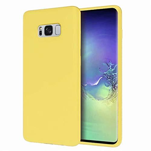 CRABOT Compatibile con Samsung Galaxy S8+/S8 Plus Custodia Silicone Liquido Paraurti In Gomma Gel Slim Antiurto Protettiva Caso+1*(Proteggi Schermo Gratuito)-Giallo