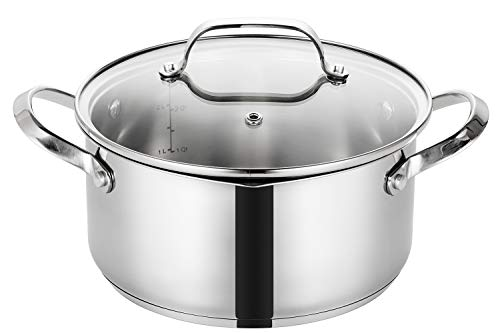 EPPMO 20cm 3.1 litros Cacerola Acero Inoxidable 18/10 Antiadherente con Tapa, Cazuela Cocina Inducción sin PFOA, Apta para Todo Tipo de Cocinas