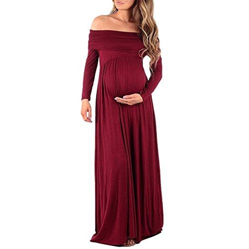 WanYang Damen Fotoshooting Mutterschaft Party Kleid Sexy Langarm mit Schwangerschaft Kleid A-Linie Kleid Jerseykleid Schwangerschafts Kleid