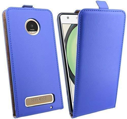 ENERGMiX Klapptasche Schutztasche kompatibel mit Lenovo Moto Z Play in Blau Tasche Hülle Flip-Cover Hülle Schale