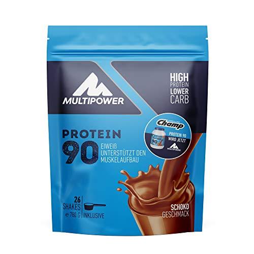 Multipower Protein 90 Proteinpulver 780g, hochwertiges Eiweißpulver mit 34g Eiweiß pro Portion, für leckere Shakes zum Muskelaufbau,Schoko