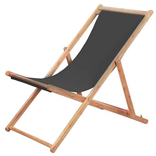 Festnight Chaise Pliante Jardin pour tressée Chaise de Plage Chaise Longue Pliable de Patio en Tissu Gris