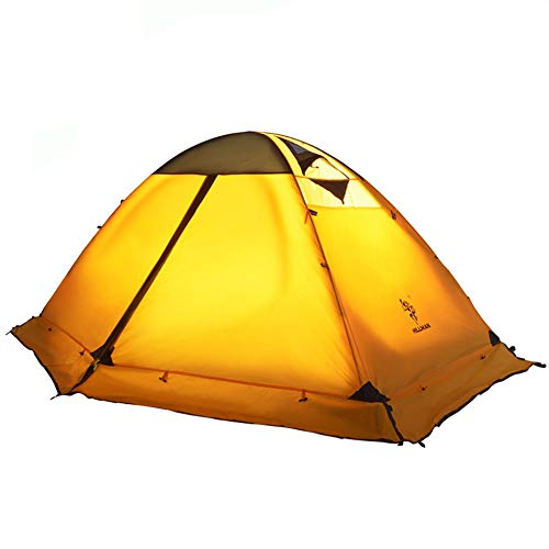 Camping Tents for Family Camping Family Tent 2 Person Backpack Double-layer Structure Installation Simple Ventilation and Windproof with Carry Bag and Quick Set-up ( Color : Yellow , Size : One Size )