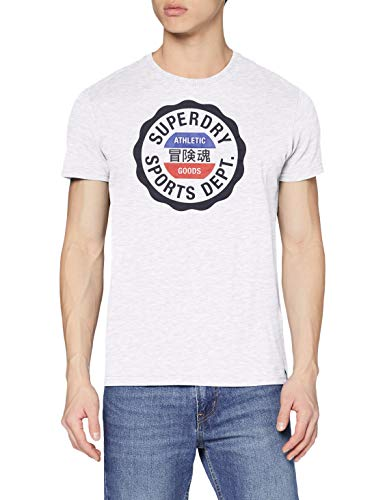 Superdry Mens Vintage Sport Tee T-Shirt, Ice Marl, L