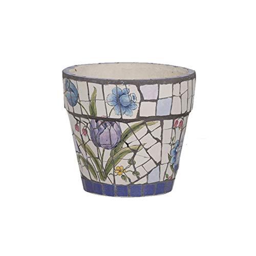 YUXINYAN Blumentopf Balkon Amerikanischer Stil Keramikpflanztopf - Blumenpflanztöpfe Indoor mit Untertassen, klein bis mittelgroßrunde runde Moderne keramische Garten-Blumentöpfe PflanzküBel AußEn