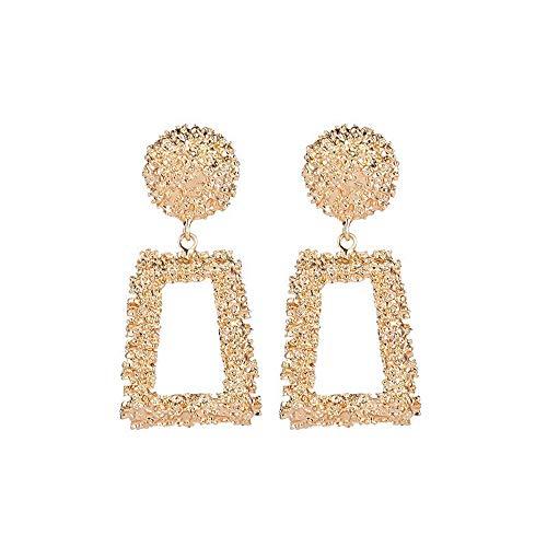 SO-buts Geometrische Ohrringe,Damen Anhänger Ohrringe,Lange Ohrringe aus Metall,Matte Trend Trapezförmige Ohrringe (Gold)