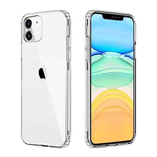 Seomusen Ultra Crystal Hülle Kompatibel mit iPhone 11 (6.1 Zoll) [Anti Gelb] Transparent Weich TPU Bumper und PC Back Handyhülle Stoßfest Soft Silikon Schutzhülle Kompatibel mit iPhone 11-Transparent