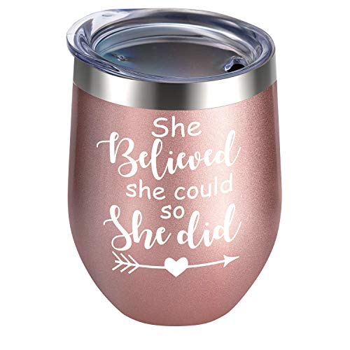 Alexanta Inspirational Gifts for Women - Congratulations Gifts for Women, She Believed She Could so She Did Wine Tumblers for Women, College Gifts for Girls, New Job Gifts for Women, Boss Gifts