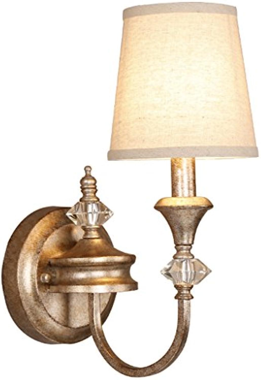 D G F Vintage Alte Schmiedeeisen Wandleuchte Europischen Kristall Lampe Leinen Schatten Nachttischlampen Balkon Korridor Wandleuchten