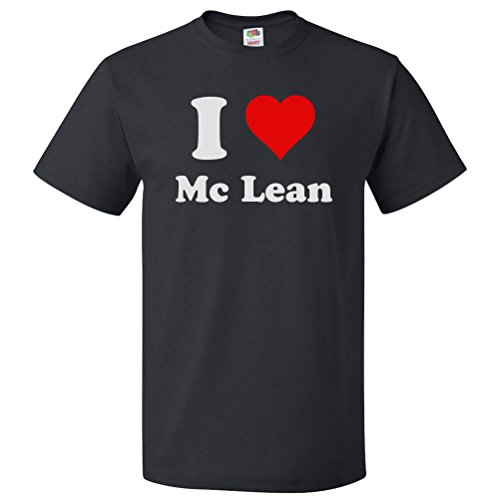 ShirtScope I Heart Mc Lean T-Shirt - I Love Mc Lean Tee Medium Black
