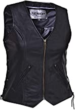 Unik International Ladies Premium Leather Motorcycle Zippered Vest 2XL