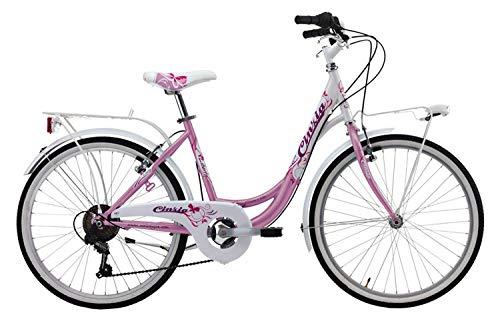 CINZIA Bici Bicicletta Donna 24' Liberty CITYBIKE Cambio Shimano REVO Shift 6V Fuxia-Bianco