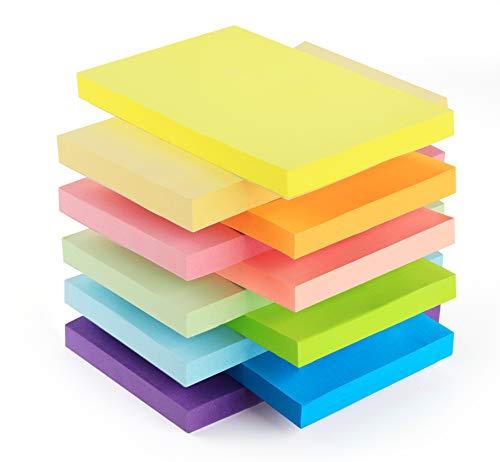 10 Notizblöcke Klebezettel Bunt, 76 x 127mm, 1000 Blatt, Bunt Haftnotizen Haftnotizzettel Sticky Notes, Selbstklebende Farbig Notizblöcke für Büro und Studenten Hause, 10 knallige Farben
