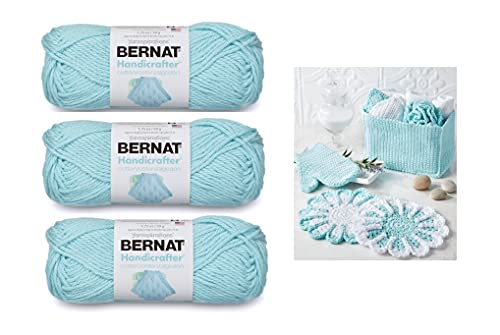 Bernat Handicrafter Cotton Solids Yarn, 1.75 oz, Gauge 4 Medium, 100% Cotton, Robin's Egg 3-Pack Bundle with Color Pattern