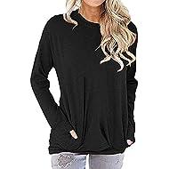 Amstt Women Pockets Soft Sweatshirts Casual Long Sleeve Tunic Baggy Comfy Blouses