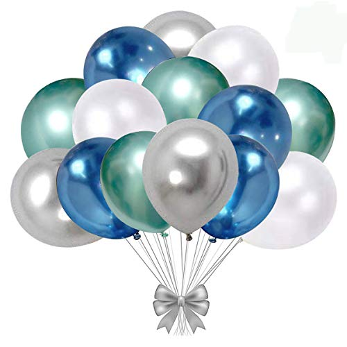 Blue and silver Metallic Chrome Latex Balloons, 50pcs 12 Inch Green Metallic Balloons White Latex Party Balloons for Bridal Shower Wedding Birthday Graduation Valentine's Day Party Decoration