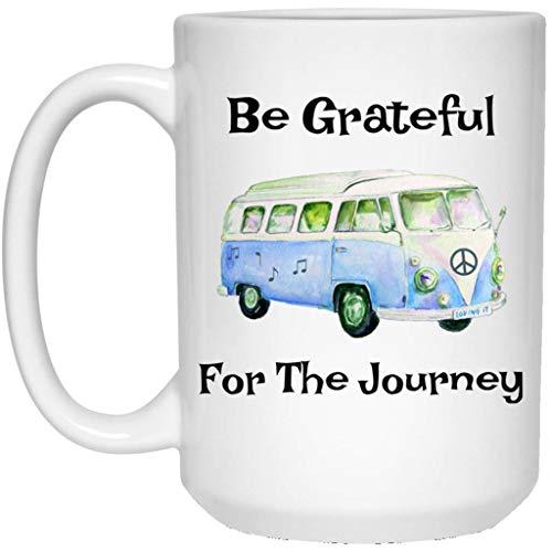 Ad4ssdu4 Wees u dankbaar voor de reis VW bus Vredesteken Volkswagen Bus keramiek koffiemok