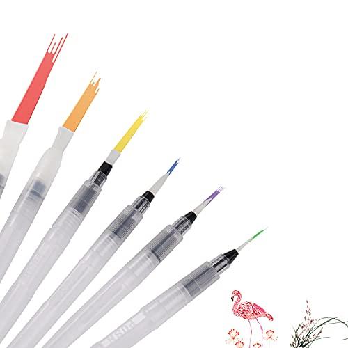 6 Piezas Pinceles Acuarela de Pintura, Watercolor Brush Pen Water Paintbrushes, Pincel de Agua Pincel brochas con Deposito Agua para Pinturas de Acuarela, Rotuladores, Pincel de escritura