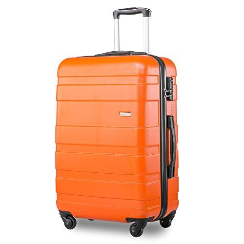 Lightweight Hard Shell 4 Wheel Travel Trolley Suitcase Luggage Set Holdall Cabin Case (S, Orange)