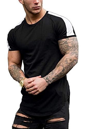 Coshow Camiseta de fitness para hombre, camiseta de culturismo, camiseta de entrenamiento, informal, ajustada, a rayas, manga corta, Hombre, Negro , medium
