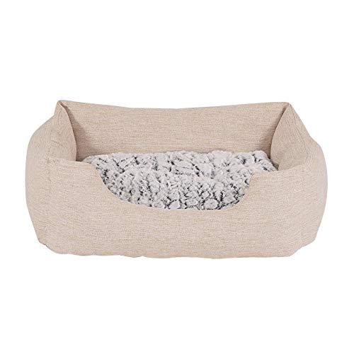 dibea Cama para perros con cojín reversible tela mezcla cómodo sofá (S) 60x50 cm Beige