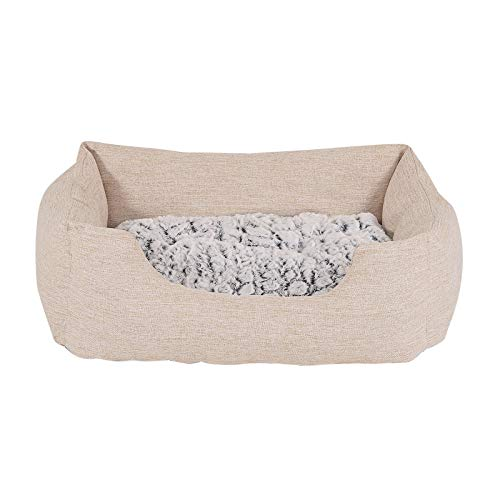 dibea Hundebett Hundekissen Hundekörbchen mit Wendekissen meliert Größe S 60x50 cm Farbe beige