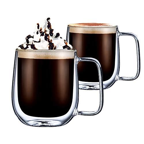 cmxing Doppelwandige Gläser Set Thermoglas Kaffeeglas Trinkgläser 2-teiliges für Espresso Tee Latte Cola Cappuccino Getränk (300 mL)