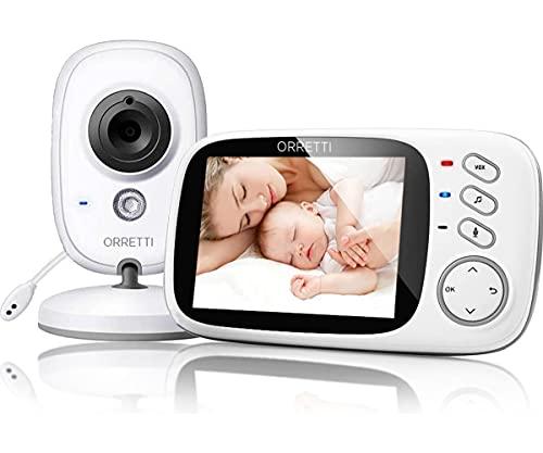 ORRETTI V8 Babyphone mit Kamera - mit EXTRA zusätzlicher Batterie - 3,2 Zoll LCD-Bildschirm, VOX, Nachtsicht,Temperaturüberwachung, Schlaflieder, Gegensprechfunktion Video-Babyphon