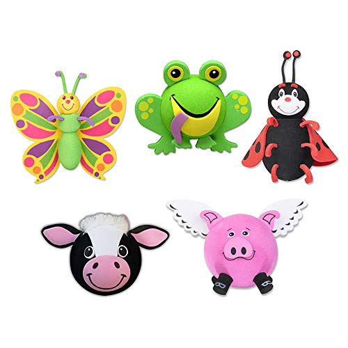 Tenna Tops Assorted Animal Car Antenna Toppers/Antenna Balls/Mirror Danglers/Desktop Spring Stands (Butterfly, Frog, Ladybug, Cow, Flying Pig) (Pack of 5)