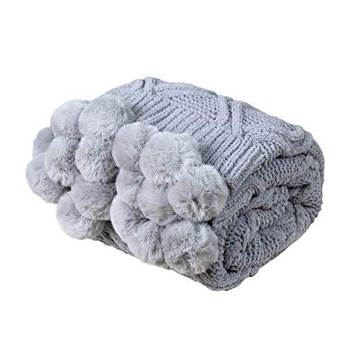 MYLUNE HOME Stilvolle Chenille Strickdecke für Fernsehen oder Nap auf dem Stuhl Sofa und Bett 130 * 160cm Grau