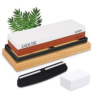 Piedra de afilar 2 en 1 para cuchillos, grano 1000/6000,Con soporte de base, almohadilla de silicona antideslizante, localizador y piedra correctora blanca