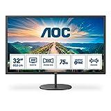 AOC Q32V4 - Monitor QHD de 32 Pulgadas, AdaptiveSync (2560 x 1440, 75 Hz, HDMI, DisplayPort), Color Negro
