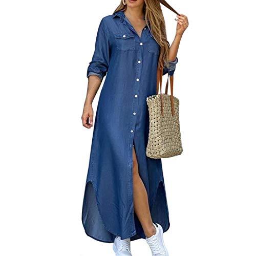 LIANDU Frauen Plus Size Langarm Split Maxikleid Revers Denim Langmantel Knopf Kleid Patchwork Camouflage Print Taschen Mantel(#1,XXL)