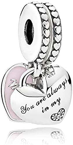 MsRosy Abalorio de madre e hija para pulseras de plata de ley con diseño de corazones para mujer, cumpleaños, día de la madre