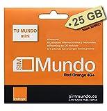 Orange Spain - Tarjeta SIM Prepago con 25 GB en España | 400 Minutos Nacionales e internacionales |...