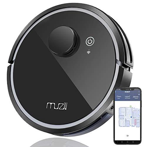 Robot Aspirateur, Muzili Robot Nettoyeur Intelligent - WiFi APP Alexa Connecté - Nettoyeur et Laveur 3 en 1-150 min MAX Travaille - Chargement Automatique pour Sol Durs Tapis et Animaux en Poils