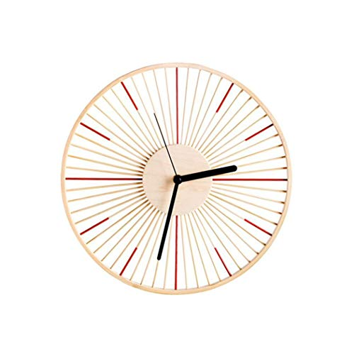ZFF Reloj de Pared de Madera Maciza de bambú de 12 Pulgadas,...