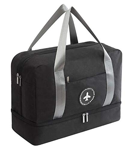 Novago reistas, sporttas, opvouwbaar, met wasscheider, vochtig en droog, schoenenhouder (zwart 2)
