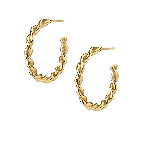 Brandlinger  Atelier hoop earrings made of gold-plated 925 sterling silver in curved look (cord). gold