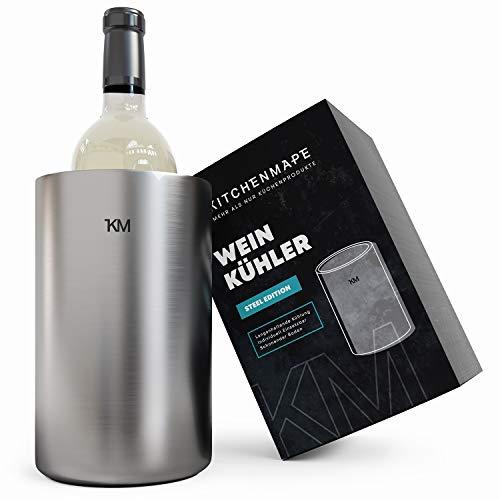 KITCHENMAPE Weinkühler aus doppelwandigen Edelstahl - Weinflaschenkühler mit langanhaltender Kühlung - ideal für alle Flaschen - Flaschenkühler, Sektkühler, Champagnerkühler (Edelstahl)