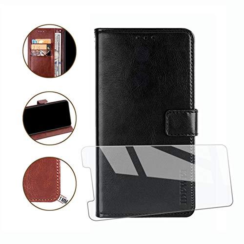 HYMY Hülle für ZTE Blade A530 + Schutzfolie - Klassische Schlichtheit PU Lederhülle Flip Schutzhülle mit Brieftasche Card Slot Handyhülle Leder Case für ZTE Blade A530 (5.45