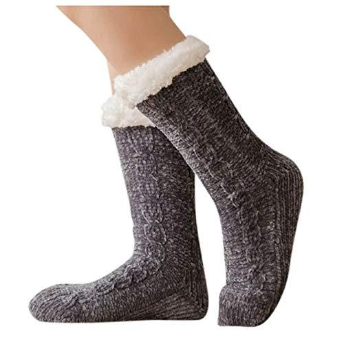 Zapatillas Casa Hombre Mujer Calcetines De Navidad para Mujer Calcetines De Algodón De Invierno Calcetines Antideslizantes Más Gruesos Sólidos Calcetines De Alfombra Calcetines 40 Darkgrey