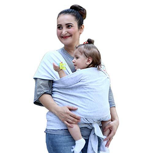 ACEDA Fular Portabebés Elastico para Llevar Al Bebé,para Hombre Y Mujer, Algodón Cinturón Posparto, 520cm X 55cm,0 KG - 25 KG, Gris