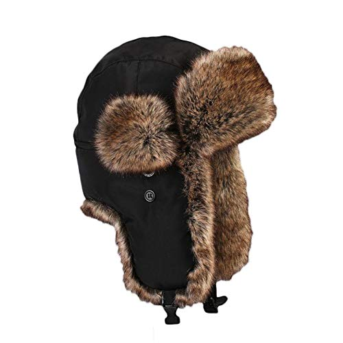 Insun Unisex Cappello da Aviatore Berretto Antivento Invernale Caldo Beanie Nero 2 XL Circonferenza del Cappello 61cm