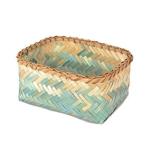 Compactor Cesta, Modelo Nouméa, Color Azul y Natural, Fabricada en bambú, Tamaño 26 x 19 x 12 cm, RAN7992