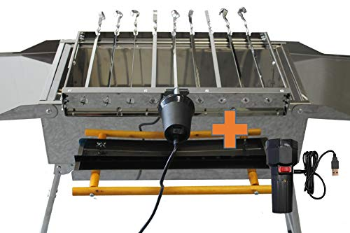 walexo 230V / 5V USB Spießdreher Edelstahl, incl. 9 Spieße Schaschlik Dreher Spießantrieb Spießaufsatz für Mangal