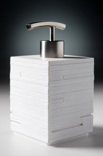 Moderner Seifenspender aus hochwertigem Kunststoff, Edelstahlpumpe, elegantes Design, Calero White